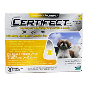 Certifect for Dogs, 5-22 lbs, 3 Month (Yellow)