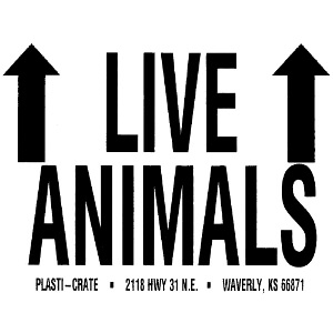 Plasti-Crate Shipping Labels, Live Animals Sticker
