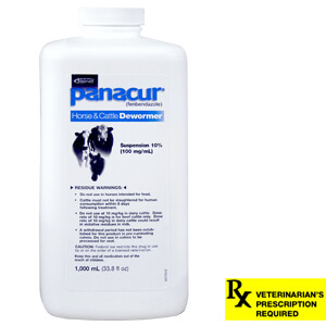 Panacur 10% Suspension Rx, 1000 ml, Horse & Cattle Dewormer