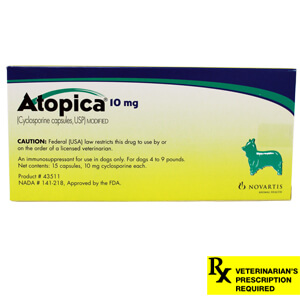 Atopica Rx, Dogs 4-9 lbs, 10 mg x 15 ct (Green)