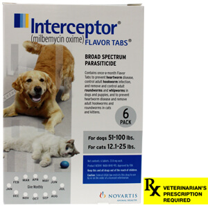 Interceptor Rx, 51-100 lbs Dog/12.1-25 lbs Cat, White, 6 count