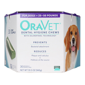 ORAVET Dental Hygiene Chews for Dogs 25-50 lb, 30 ct