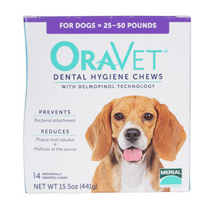 ORAVET Dental Chews for dogs 25-50 lbs, 14 ct