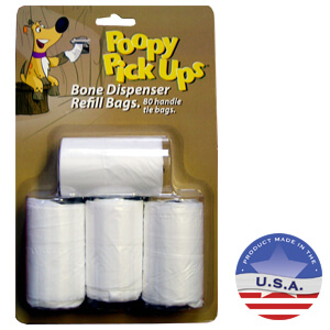 Poopy Pickup Dispenser Refill, 4 Rolls, 20 Bags per Roll