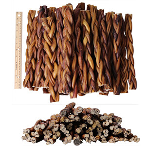 Braided Bully Sticks for Dogs, 12