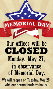 We are closed for Memorial Day