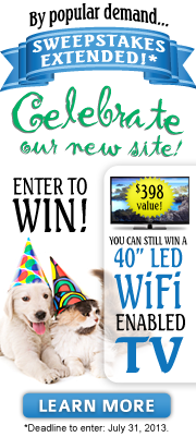Celebrate our new site! Enter to win a 40-inch WiFi-enabled LED TV!