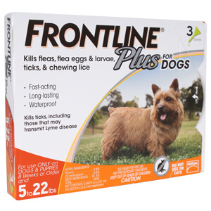 Frontline Plus Flea and Tick for Dogs, 5-22 lbs, 3 month