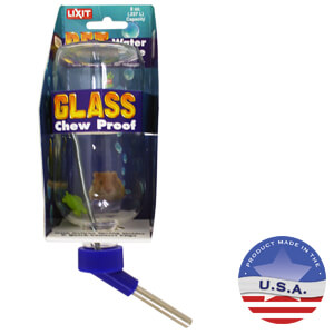 Lixit 8 oz Boston Round Glass Bottle with Ball-Point Tube Cap Assembly