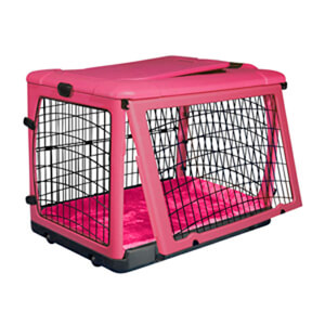 The Other Door Steel Crate with Plush Pad, Pink, 27