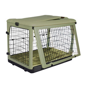 The Other Door Steel Crate with Plush Pad, Sage, 27
