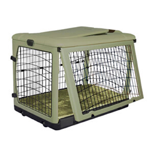 The Other Door Steel Crate with Plush Pad, Sage, 36