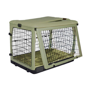 The Other Door Steel Crate with Plush Pad, Sage, 42