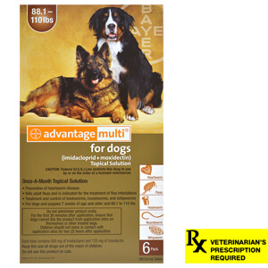 Advantage Multi Rx for Dogs, 88.1-110 lbs, 6 month (Brown)
