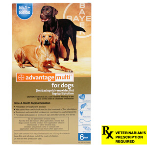 Advantage Multi Rx for Dogs, 55.1-88 lbs, 6 Month (Blue)