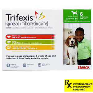 Trifexis Rx, 20.1-40 lbs (Green), 6 month