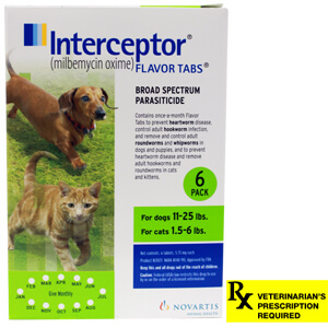 Interceptor Rx, 11-25 lbs Dog/1.5-6 lbs Cat, Green, 6 count