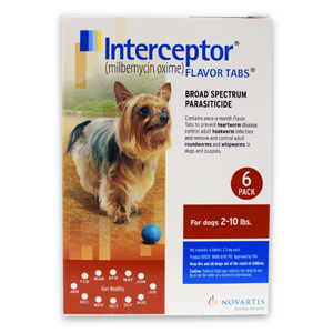 Interceptor Rx, 2-10 lbs Dog, Brown, 6 count