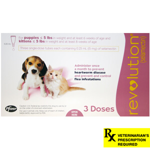 Revolution Rx for Puppies/Kittens, ORM-D, Up to 5 lbs, 3 Month (Mauve)
