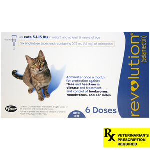 Revolution Rx for Cats, Blue, 5.1-15 lbs, 6 Month