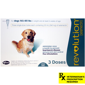 Revolution Rx for Dogs,ORM-D, 40.1-85 lbs, 3 Month (Teal)