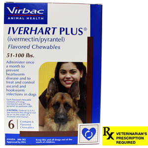 Iverhart Plus Rx, 51-100 lbs, 6 Month