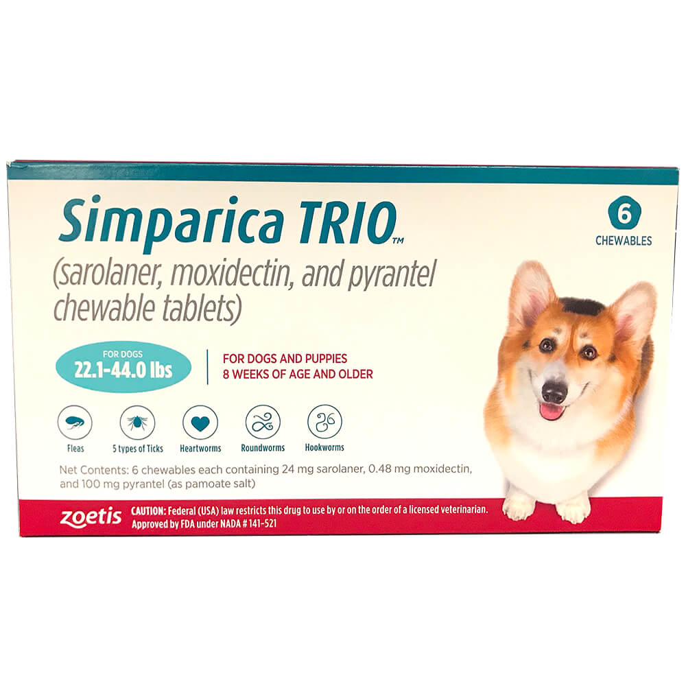 Rx Simparica Trio, Blue, 22.1-44lbs, 24Mg x 6 Tab