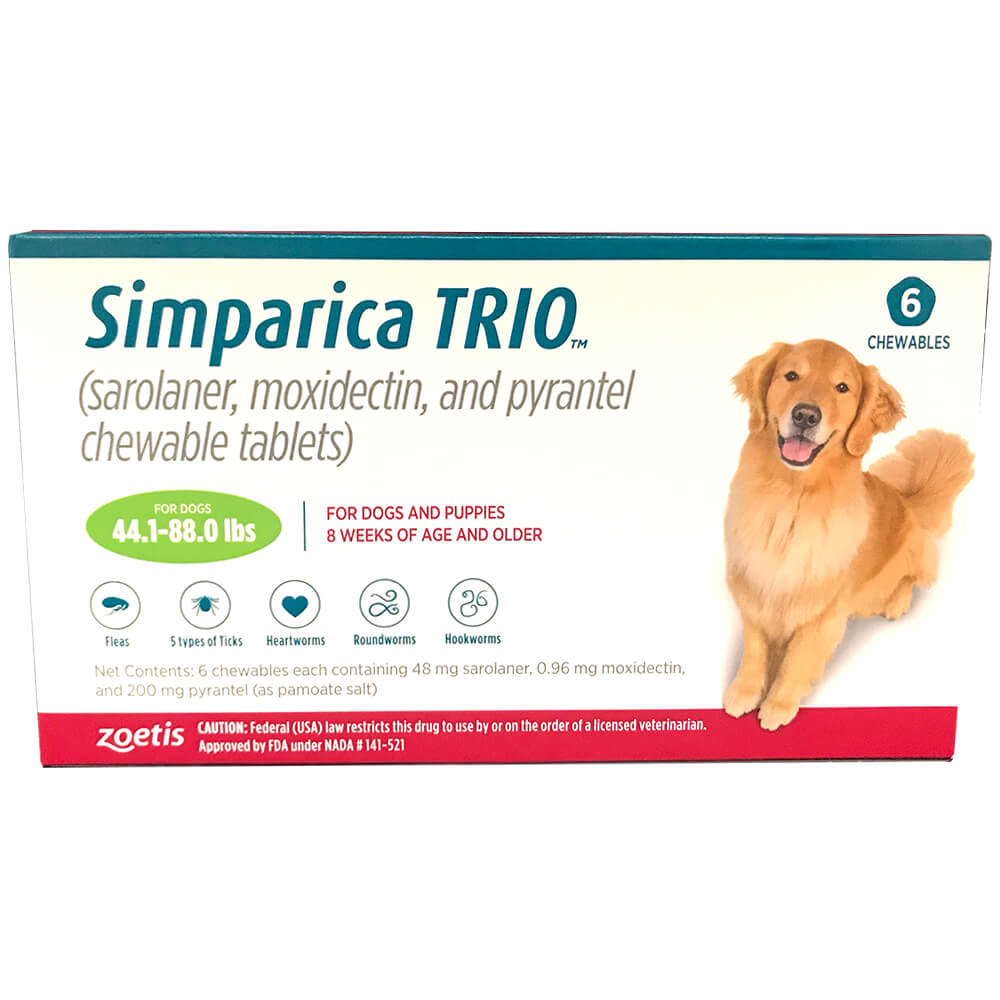 Rx Simparica Trio, Green, 44.1-88lbs, 48Mg x 6 Tab