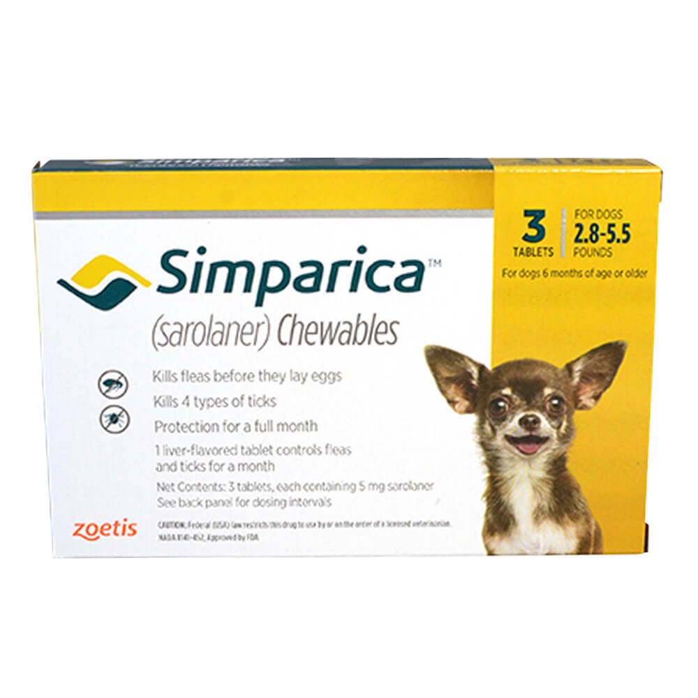 Rx Simparica 5mg for Dogs 2.8-5.5 lbs, 3 Chewable Tablets