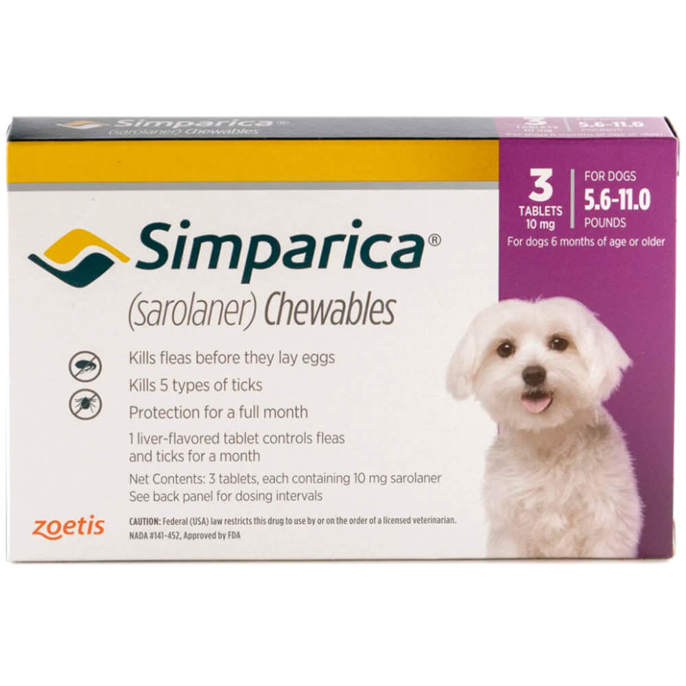 Rx Simparica 10mg for Dogs 5.6-11 lbs, 3 Chewable Tablets