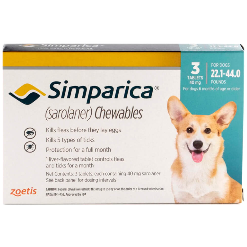 Rx Simparica 40mg for Dogs 22.1-44 lbs, 3 Chewable Tablets