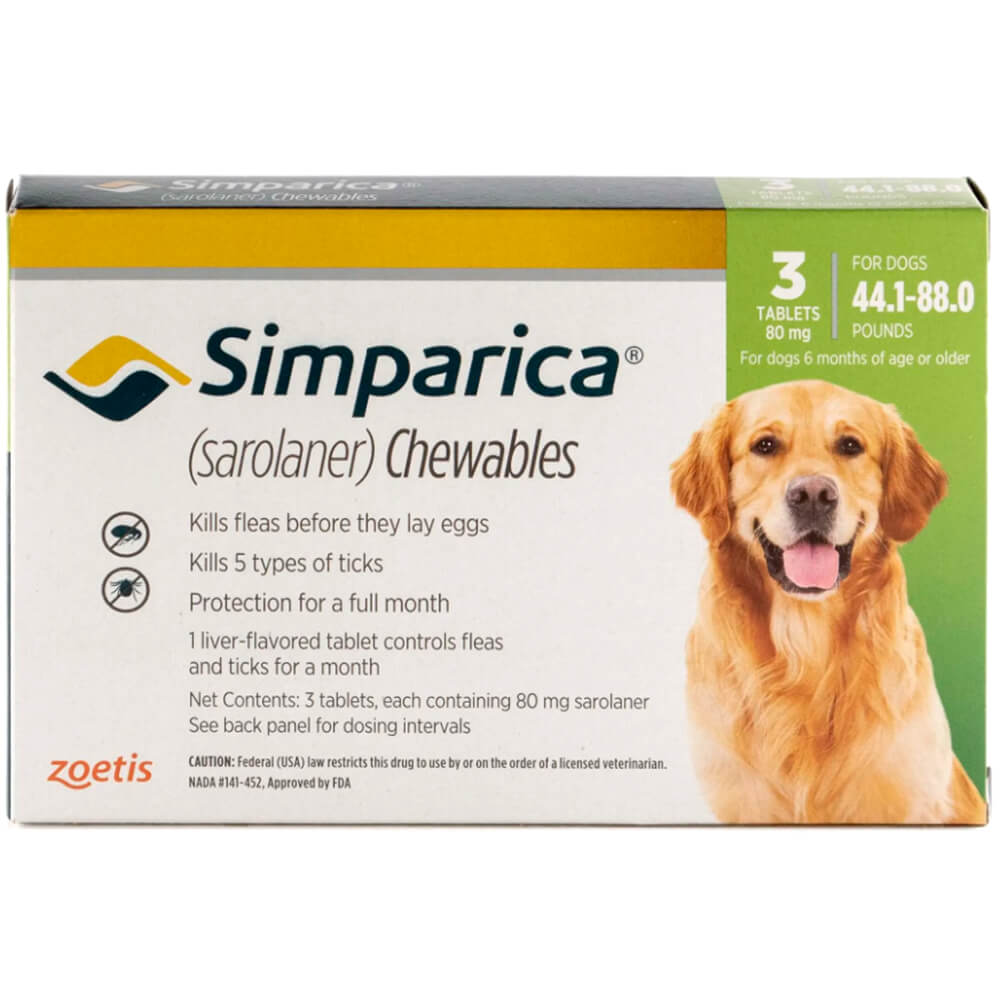Rx Simparica 80mg for Dogs 44.1-88 lbs, 3 Chewable Tablets