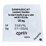 Rx Simparica 120mg for Dogs 88.1-132 lbs, 1 Chewable Tablets