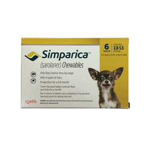 Simparica Rx, 5mg for Dogs 2.8-5.5 lbs, 6 Chewable Tablets