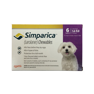 Simparica Rx 10mg for Dogs 5.6-11 lbs, 6 Chewable Tablets