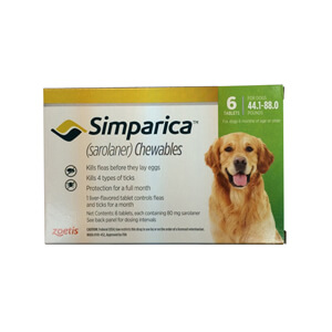 Simparica Rx, 80 mg for Dogs 44.1-88 lbs, 6 Chewable Tablets
