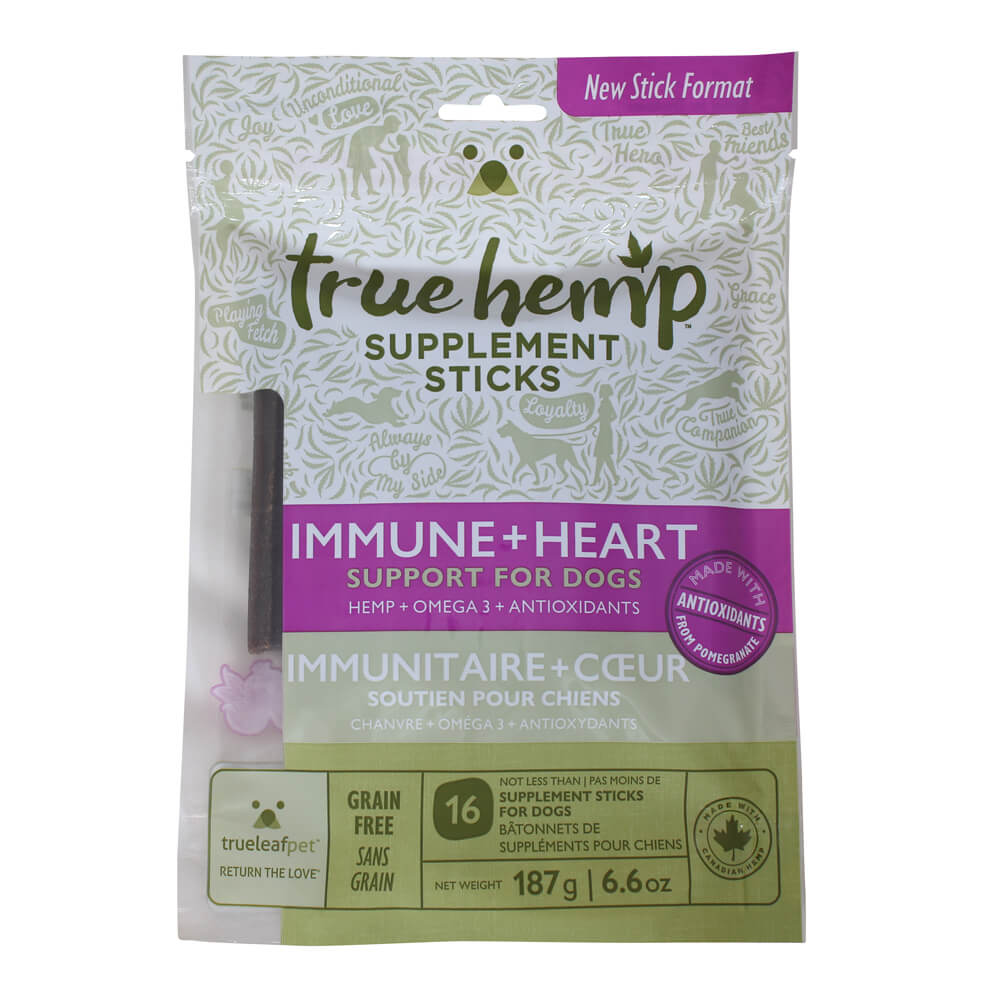 True Hemp Supplement Sticks, Immune + Heart Support for Dogs, 6.6 oz