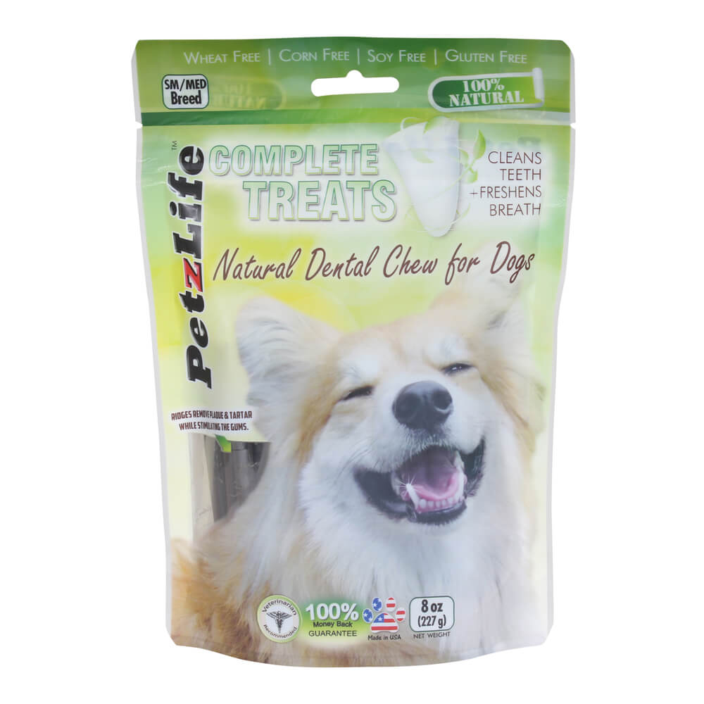 PetzLife Complete Treats Natural Dental Dental Chews for Dogs, 8 oz