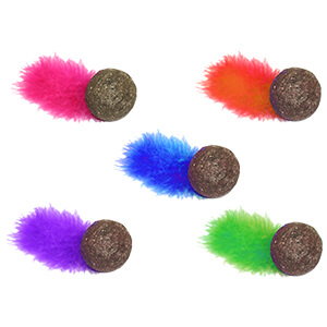 Compressed Catnip Ball with Feather