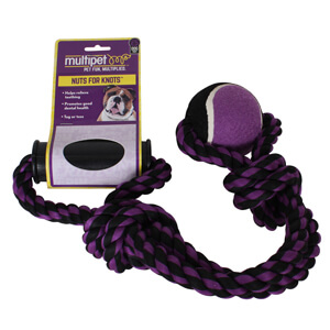 Nuts for Knots 2-Knot Rope Tug with Tennis Ball, 20