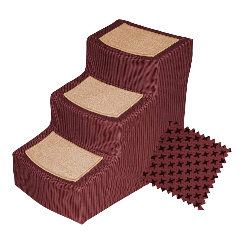 Designer Stair III with Removable Cover, Burgundy