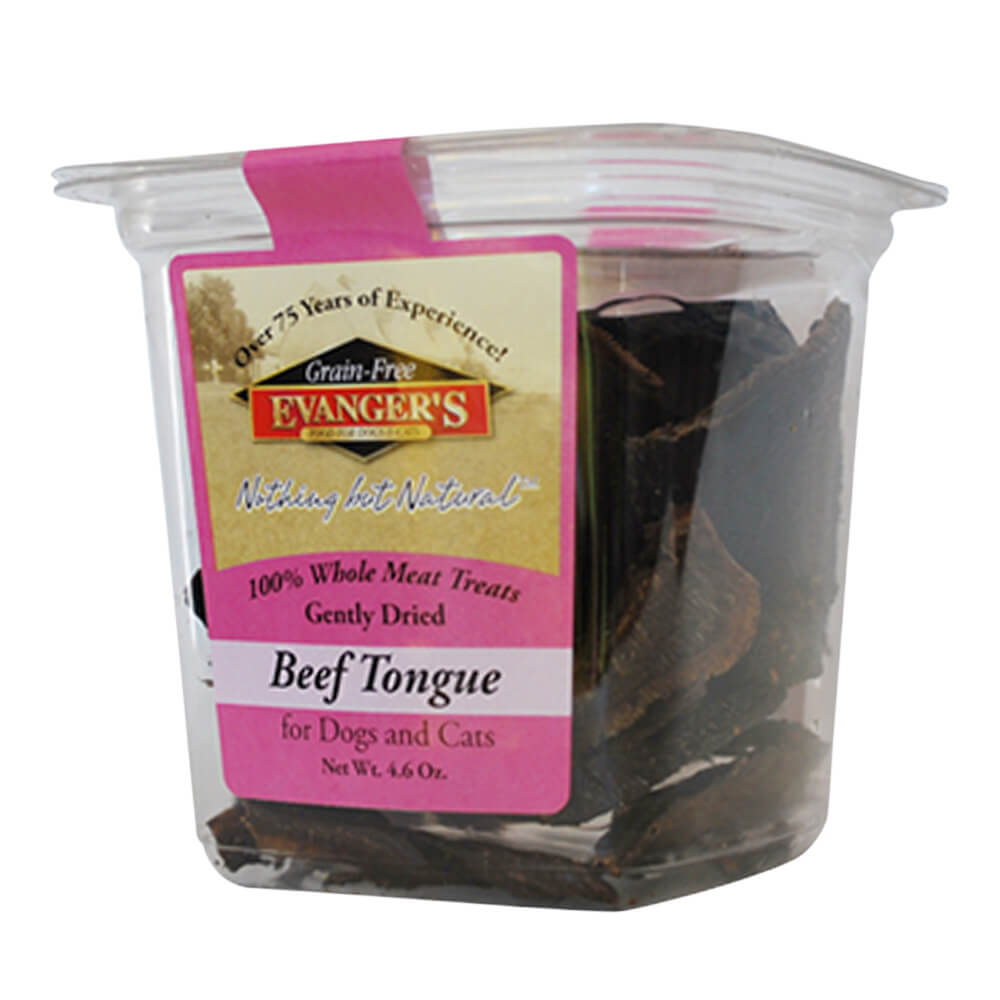 Evangers Natural Gently Dried Beef Tongue Treats for Dogs & Cats, 4.6 oz