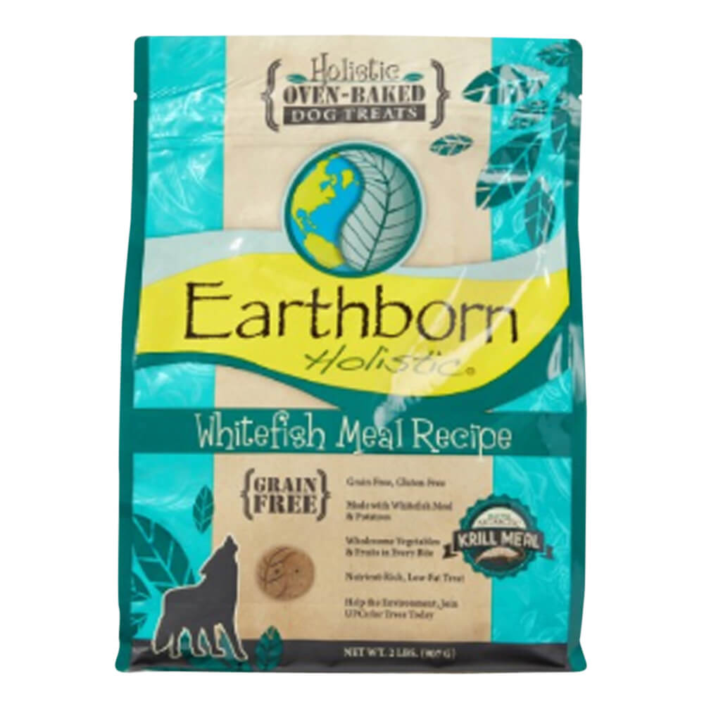 Earthborn Holistic Oven-Baked Dog Treats, Grain Free, Whitefish, 2 lbs