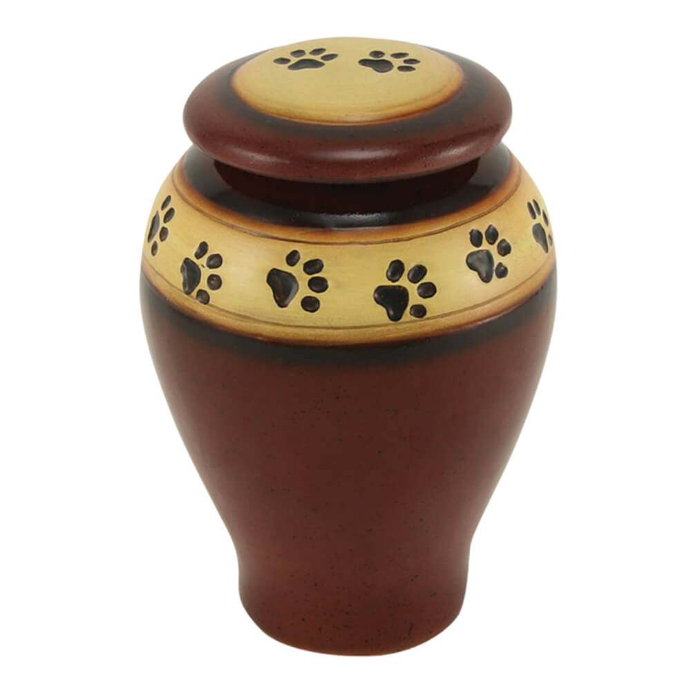 Ceramic Paw Print Pet Urn, Red, Small