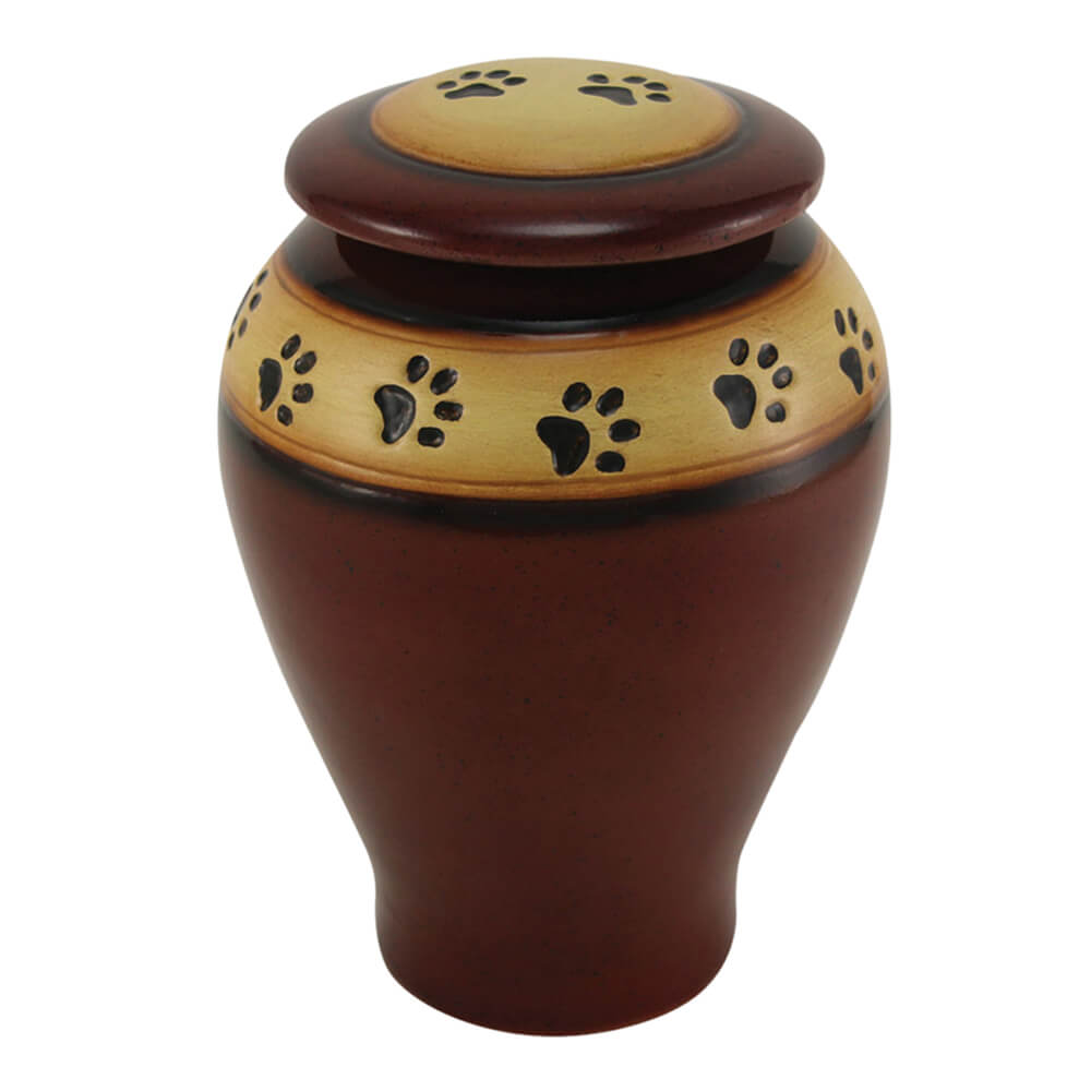 Ceramic Paw Print Pet Urn, Red, Large