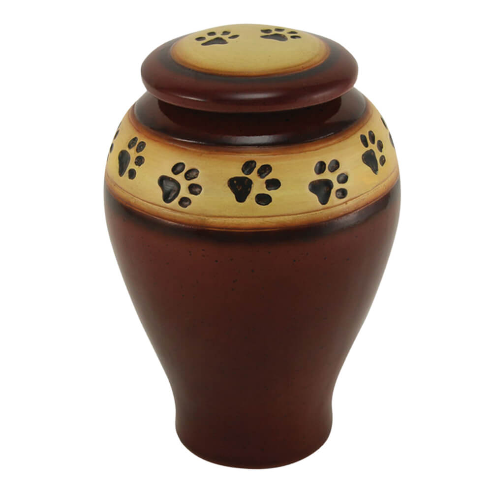 Ceramic Paw Print Pet Urn, Red, Medium