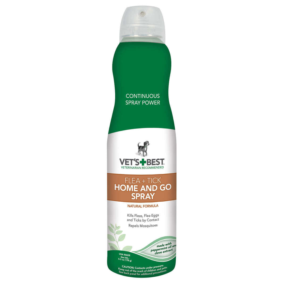 Vet's Best Dog Flea and Tick Home and Go Spray 6.3oz Green 2.09