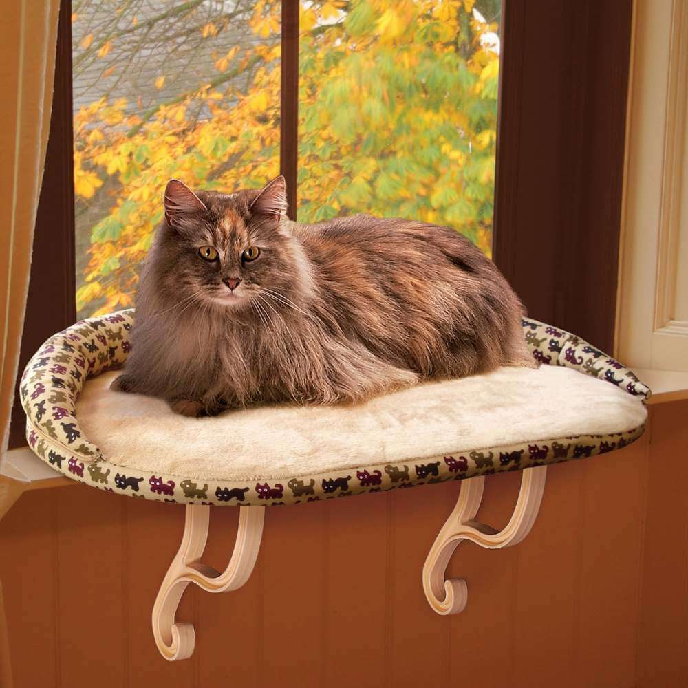 K&H Pet Products Kitty Sill Deluxe with Bolster Tan 14