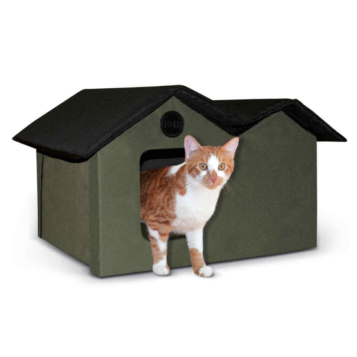 K&H Pet Products Unheated Outdoor Kitty House Extra Wide Olive / Black 21.5
