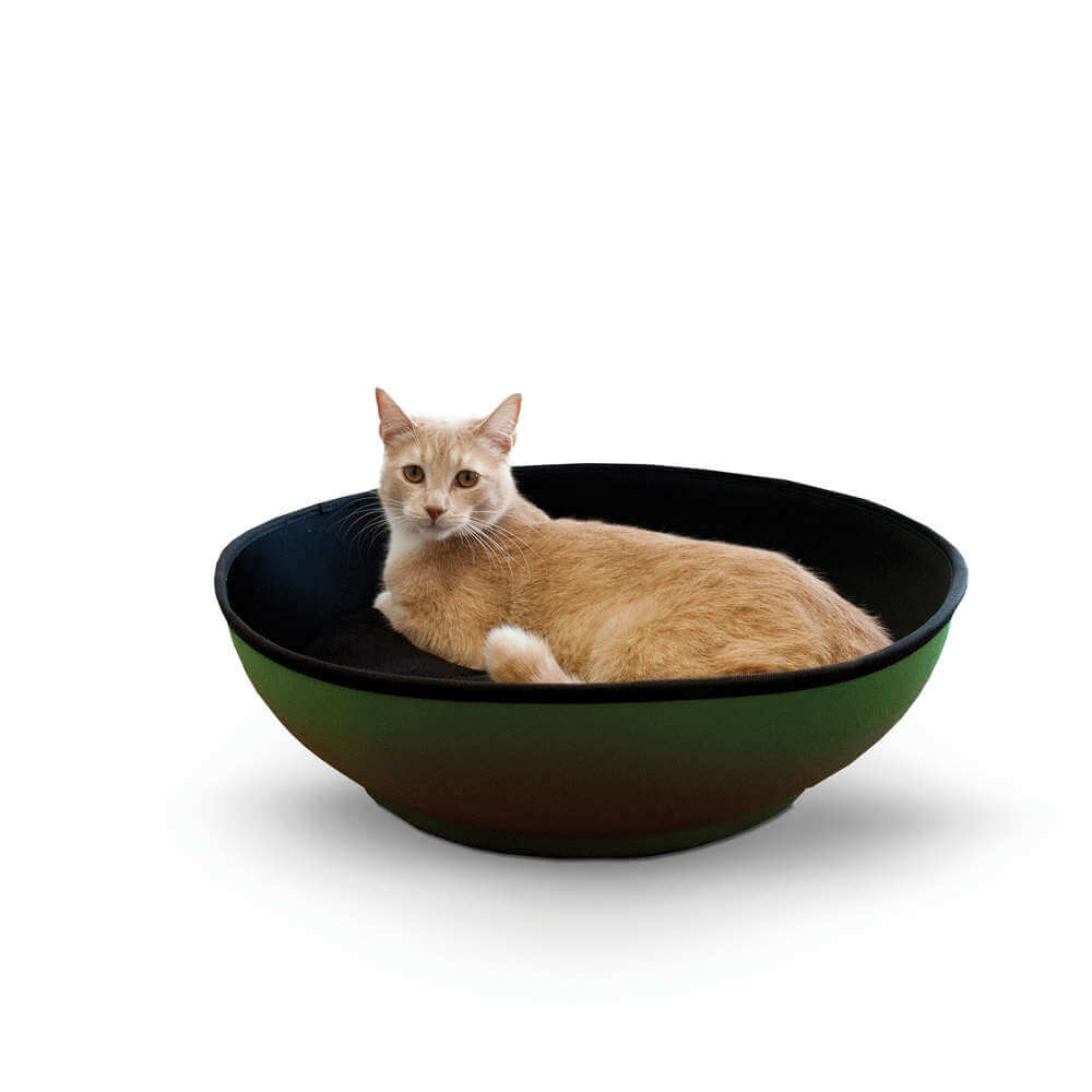 K&H Pet Products Mod Half-Pod Cat Bed Green / Black 22